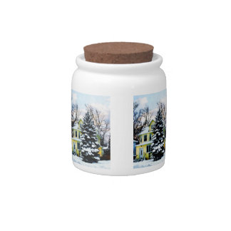 Yellow House in Snow Candy Jars