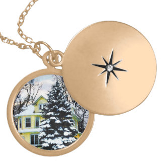 Yellow House in Snow Custom Jewelry