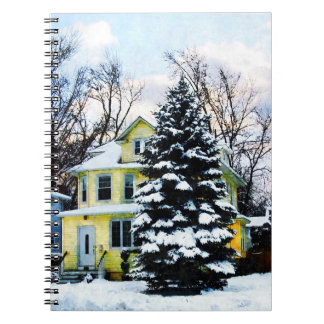 Yellow House in Snow Notebook