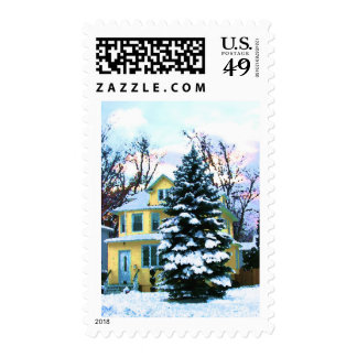Yellow House in Snow Postage Stamp