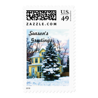 Yellow House in Snow Stamps