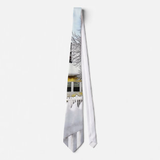 Yellow House with Snow Covered Picket Fence Tie