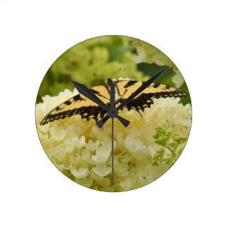 Yellow Hydrangea Butterfly Clock