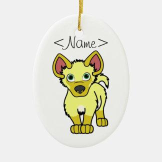 Yellow Hyena Cub Ceramic Ornament