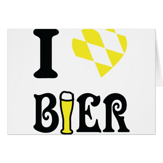 yellow I love Bier icon Card