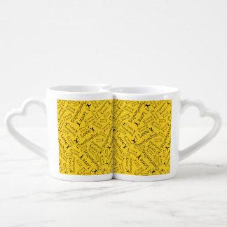 Yellow I love cheerleading Lovers Mug Set