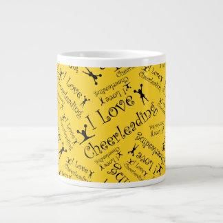 Yellow I love cheerleading Jumbo Mug