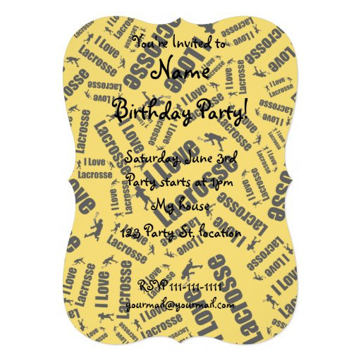 Yellow I love lacrosse Custom Invitation