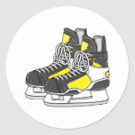 Yellow Ice Hockey Skates Round Sticker