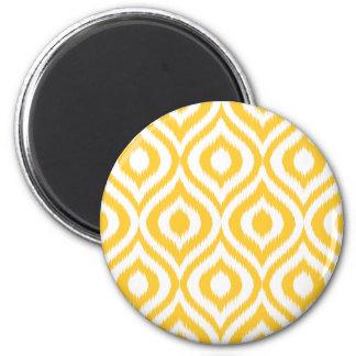 Yellow Ikat Classic Geometric Ethnic Print 2 Inch Round Magnet