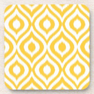 Yellow Ikat Classic Geometric Ethnic Print Beverage Coaster