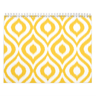 Yellow Ikat Classic Geometric Ethnic Print Calendars