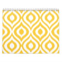 Yellow Ikat Classic Geometric Ethnic Print Calendar