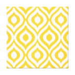 Yellow Ikat Classic Geometric Ethnic Print Stretched Canvas Print
