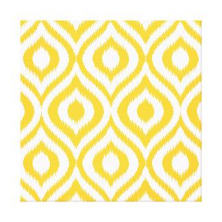 Yellow Ikat Classic Geometric Ethnic Print Stretched Canvas Print