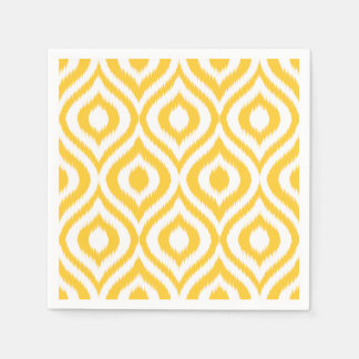 Yellow Ikat Classic Geometric Ethnic Print Standard Cocktail Napkin