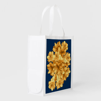 Yellow Illustrated Flower Floral Pattern Drawing Grocery Bag