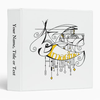 Yellow Imagine In Lines and Dangles 3 Ring Binder