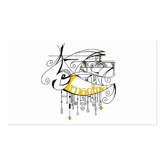 Yellow Imagine In Lines and Dangles Business Card