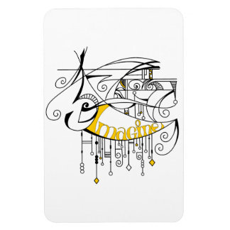 Yellow Imagine In Lines and Dangles Magnet