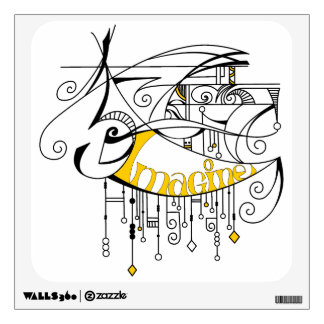Yellow Imagine In Lines and Dangles Wall Sticker
