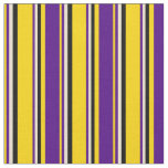 [ Thumbnail: Yellow, Indigo, Beige & Black Stripes Pattern Fabric ]