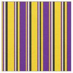 [ Thumbnail: Yellow, Indigo, Beige & Black Stripes Pattern Fabric ]