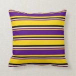 [ Thumbnail: Yellow, Indigo, Beige & Black Stripes Pattern Throw Pillow ]