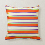 [ Thumbnail: Yellow, Indigo, Beige, Red, and Aquamarine Colored Throw Pillow ]