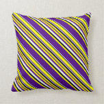 [ Thumbnail: Yellow, Indigo, Mint Cream & Black Stripes Pillow ]