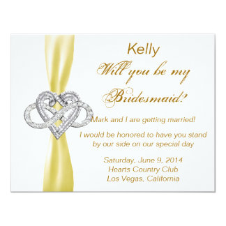 Yellow Infinity Heart Bridesmaid Card Announcements