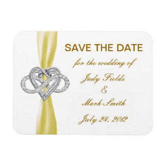 Yellow Infinity Heart Save The Date Magnet
