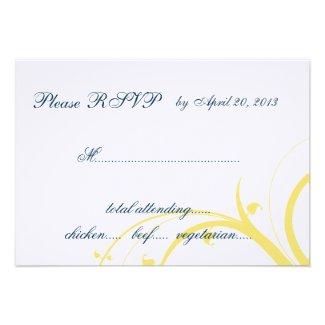 Yellow Initial, Blue Swirls Wedding RSVP Card