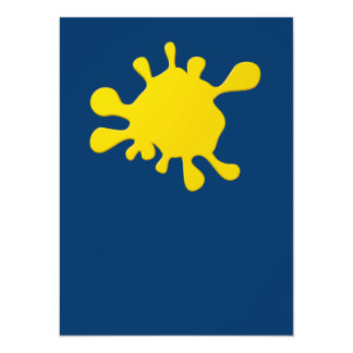 Yellow ink blot 5.5x7.5 paper invitation card
