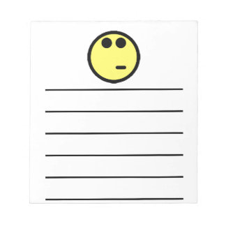 Yellow Inquisitive Smiley Face Notepad