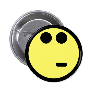 Yellow Inquisitive Smiley Face Pinback Button