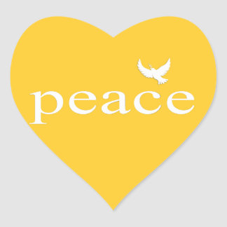 Yellow Inspirational Peace Quote Heart Sticker