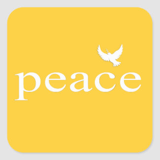 Yellow Inspirational Peace Quote Square Stickers