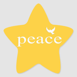Yellow Inspirational Peace Quote Star Stickers