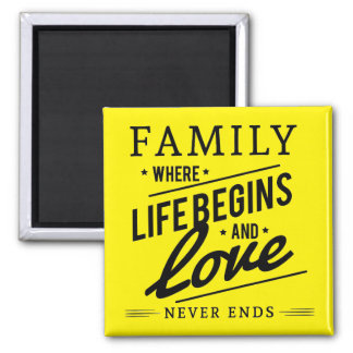 Yellow Inspirational Typography Family Quote Magnet