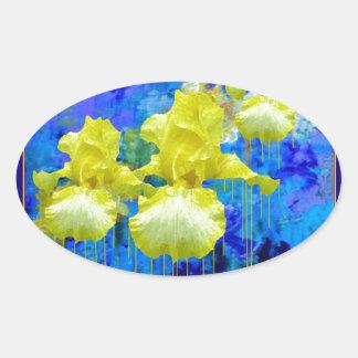 Yellow Iris Azure Blue Garden gifts by Sharles Oval Sticker
