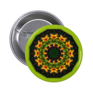 Yellow Iris, Floral mandala-style Button