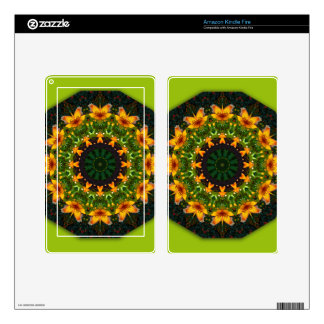 Yellow Iris, Floral mandala-style Kindle Fire Decal