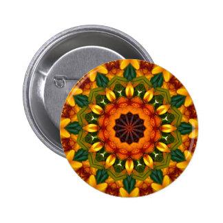 Yellow Iris, Floral mandala-style Pinback Button