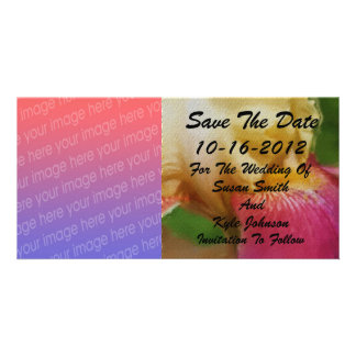 Yellow Iris Floral Photo Wedding Save Date Card