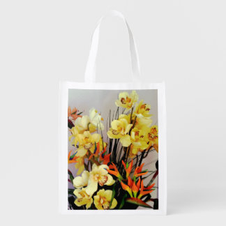Yellow Iris Flower Arrangement Grocery Bag