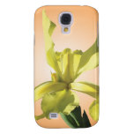 yellow iris flower in yellow background. galaxy s4 cases