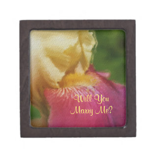 Yellow Iris Marry Me Floral Engagement Ring Box