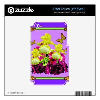 Yellow Iris Monarch Butterflies Purple Floral iPod Touch 4G Skins