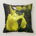 Yellow Irises Bright Floral Throw Pillow